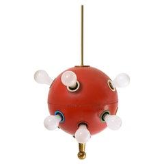 Red Oscar Space Age Torlasco 551 Pendant, Italy, 1960's