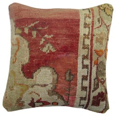 Red Oushak Border Medallion Rug Pillow