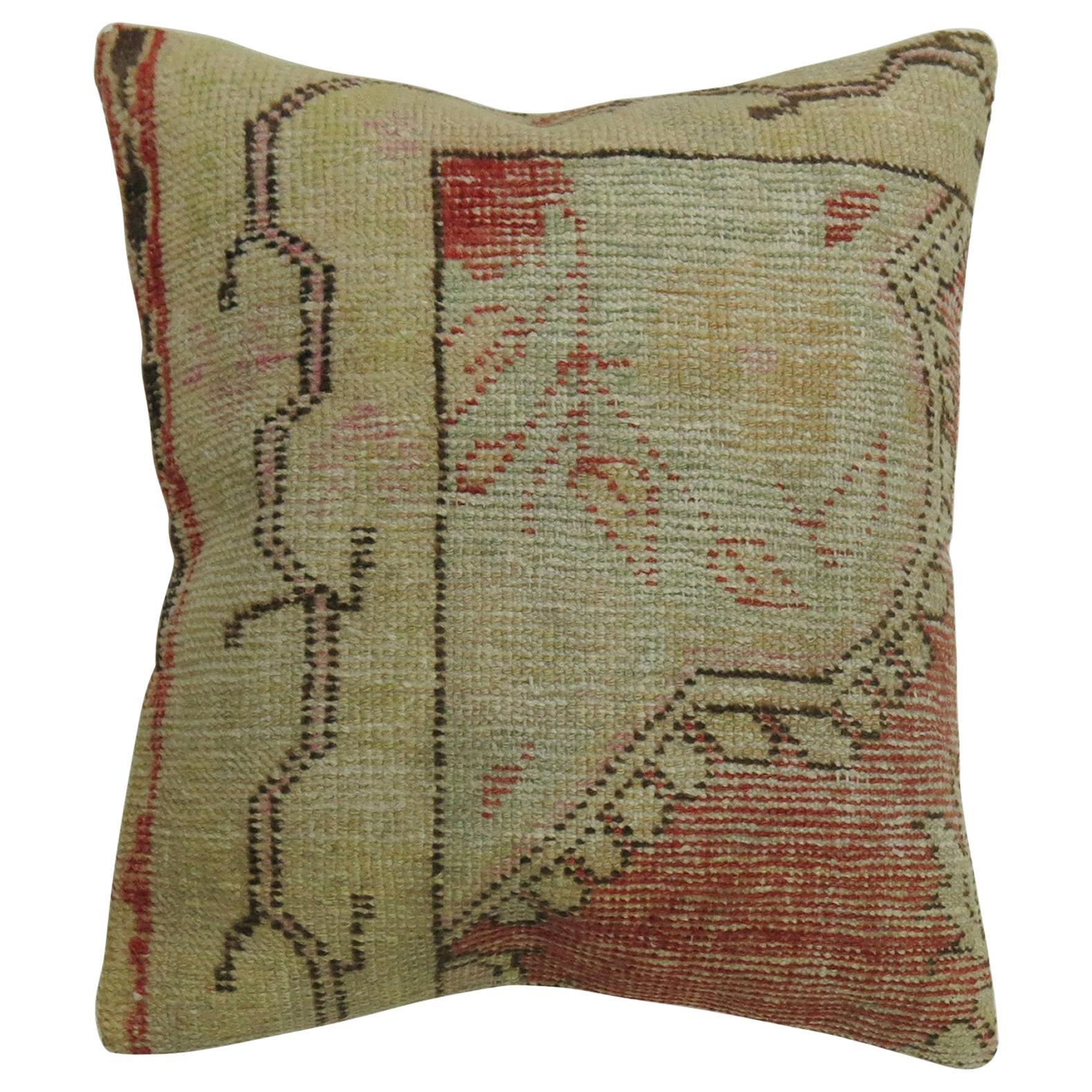 Red Oushak Medallion Rug Pillow