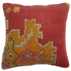 Red Oushak Rug Pillow