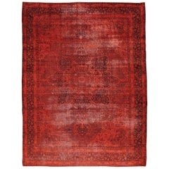 Red Overdyed and Distressed Handmade Persian Lavar Kerman Large Room Size Carpet