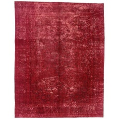 Red Overdyed Distressed Vintage Turkish Rug with Industrial Luxe Style