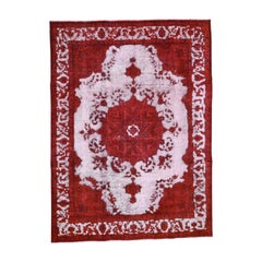 Red Overdyed Persian Tabriz Hi-low Vintage Pure Wool Rug