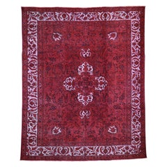 """Red Overdyed Pure Wool Persian Tabriz Hi-low Hand-Knotted Rug, 8'7""""x10'8"""""""