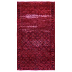 """Red Overdyed Vintage Persian Hamadan Hand Knotted Oriental Rug, 4'8"""" x 8'7"""""""