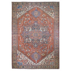 Red Oversized Antique Persian Serapi Heriz Exc Cond Hand Knotted Oriental Rug