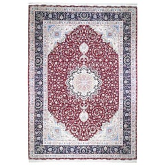 Red Oversized New Persian Tabriz 400 KPSI Double Signature Hand Knotted Oriental