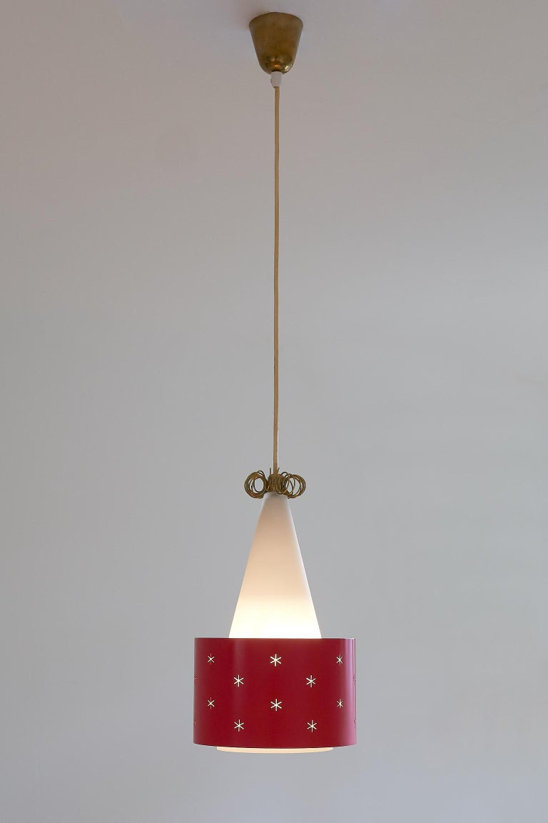 Scandinavian Modern Red Paavo Tynell Pendant, Model K2-10, Idman Finland, 1955 For Sale