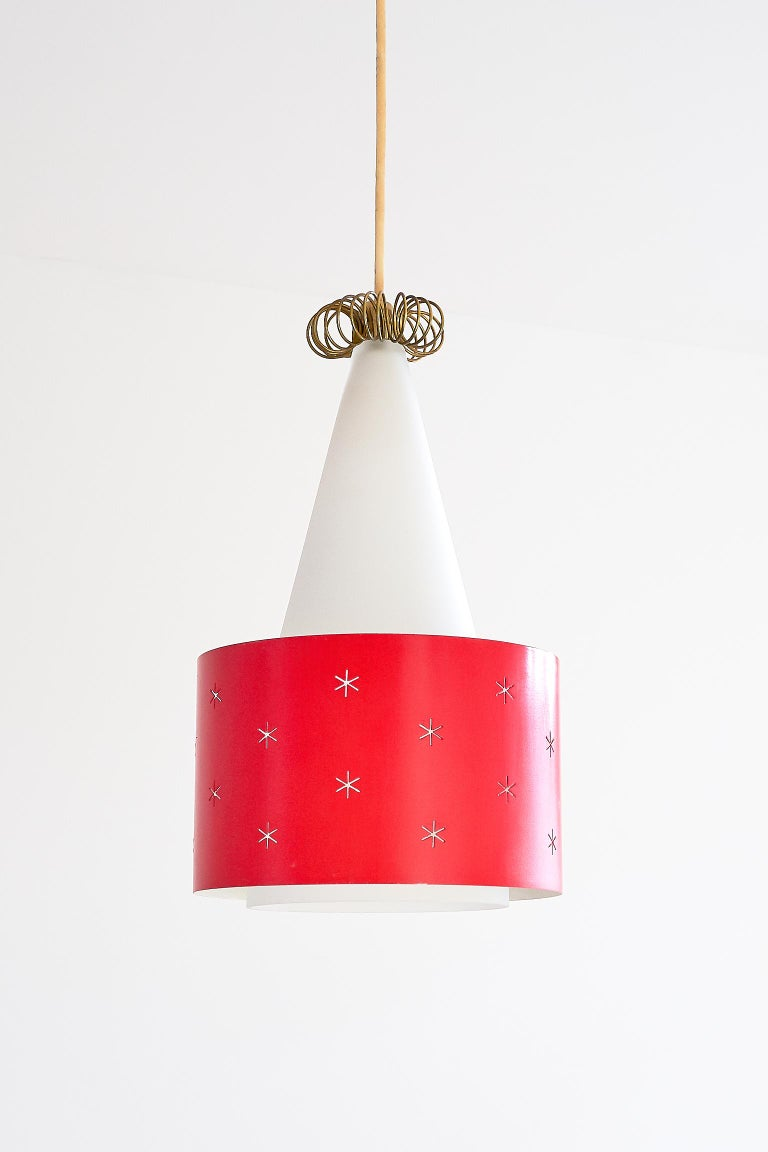 Finnish Red Paavo Tynell Pendant, Model K2-10, Idman Finland, 1955 For Sale