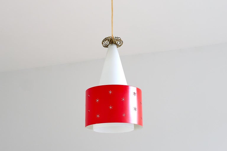 Mid-20th Century Red Paavo Tynell Pendant, Model K2-10, Idman Finland, 1955 For Sale