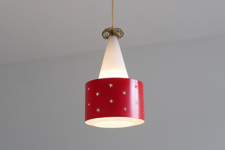 Metal Red Paavo Tynell Pendant, Model K2-10, Idman Finland, 1955 For Sale