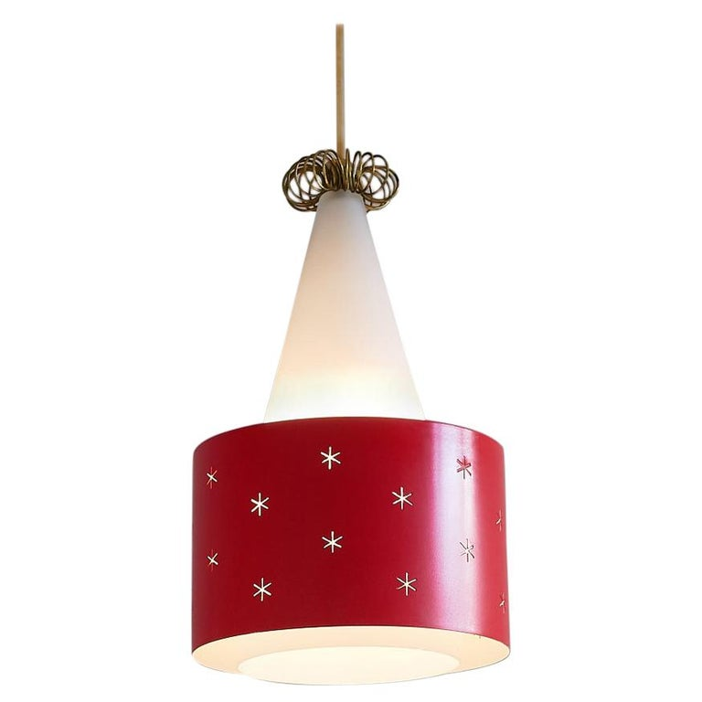 Red Paavo Tynell Pendant, Model K2-10, Idman Finland, 1955 For Sale