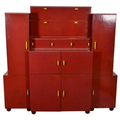 Red painted Belgian Art Deco Cabinet, circa 1930