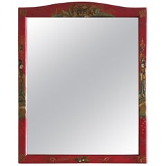 Red Painted Chinoiserie Vanity Mirror