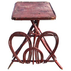 Red Painted Twig Rustic Adirondack End Side Table