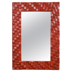 """Red Painted """"Woven"""" Mirror"""