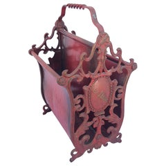 "Red Painted Wrought Iron Magazine Rack, ""Ex Libris"""