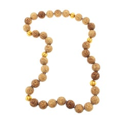 Red Palm Wood and Gold Bead Necklace