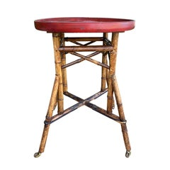 Red Papier-Mâché Tray Table on Bamboo Stand, circa 1880s