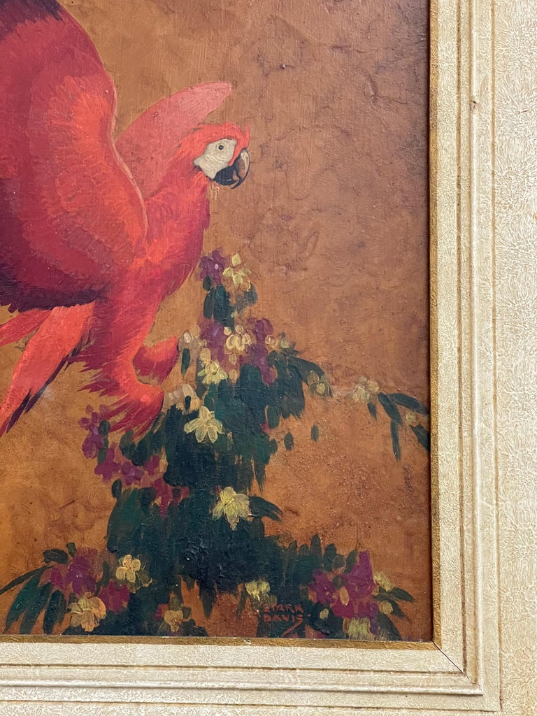 Early 20th century oil on board by Stark Davis (American, 1885-1950) red parrot, oil on board, signed lower right, titled verso.