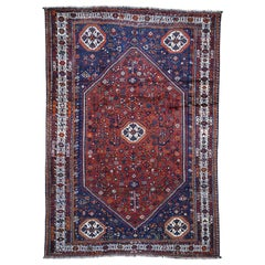 Red Persian Shiraz Pure Wool Hand Knotted Oriental Rug