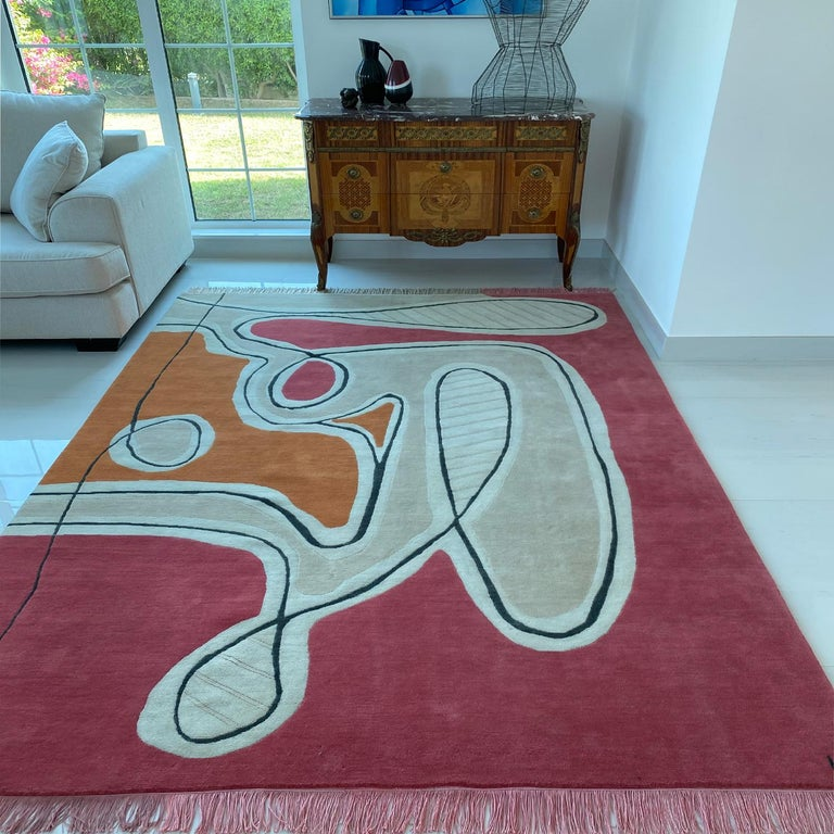 Modern Red Pink Cream Black Wool Rug by Cecilia Setterdahl for Carpets CC For Sale