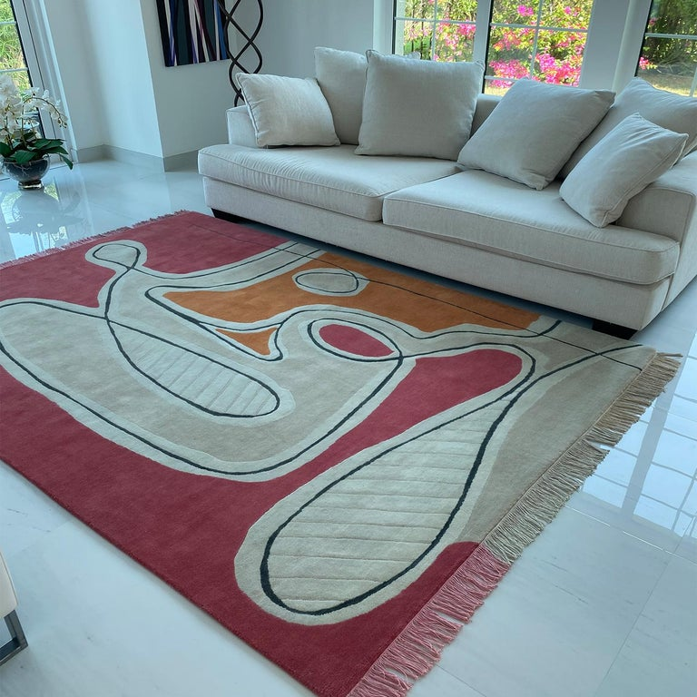 Indian Red Pink Cream Black Wool Rug by Cecilia Setterdahl for Carpets CC For Sale