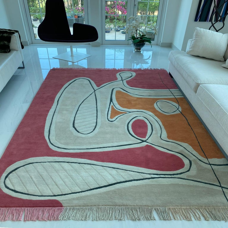 Hand-Knotted Red Pink Cream Black Wool Rug by Cecilia Setterdahl for Carpets CC For Sale