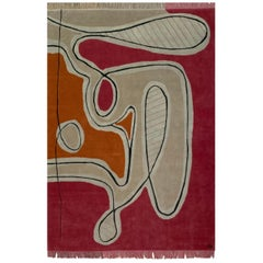 Red Pink Cream Black Wool Rug by Cecilia Setterdahl for Carpets CC
