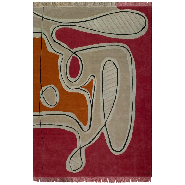 Red Pink Cream Black Wool Rug by Cecilia Setterdahl for Carpets CC For Sale