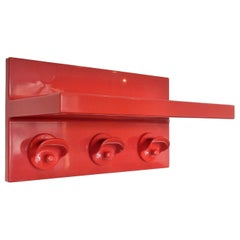 Red Plastic Coat Rack with Hat Shelf by Olaf von Bohr for Kartell, Italy, 1970s