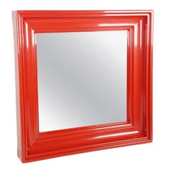 Red Plastic Square 1970s Wall Mirror with Classic Shape Frame