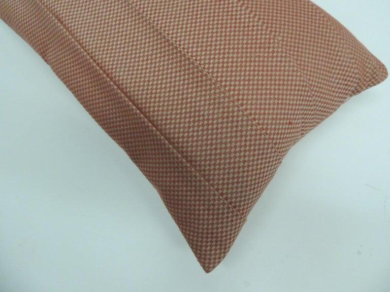 Modern Red Pleated Woven Silk Decorative Lumbar Pillow