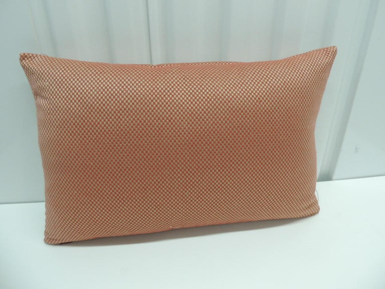 Asian Red Pleated Woven Silk Decorative Lumbar Pillow