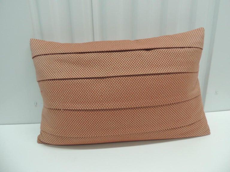 Machine-Made Red Pleated Woven Silk Decorative Lumbar Pillow