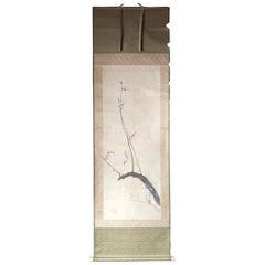 Red Plum Nightingale Japanese Antique Hand Painted Silk Scroll, Taisho Period