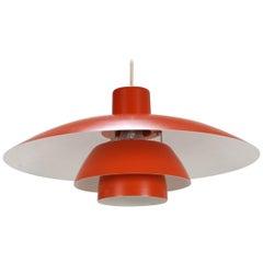 Red Poul Henningsen Lamp, Danish Design