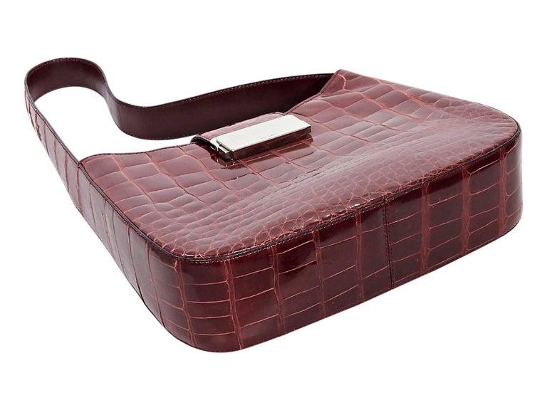 Brown Red Prada Alligator Shoulder Bag For Sale