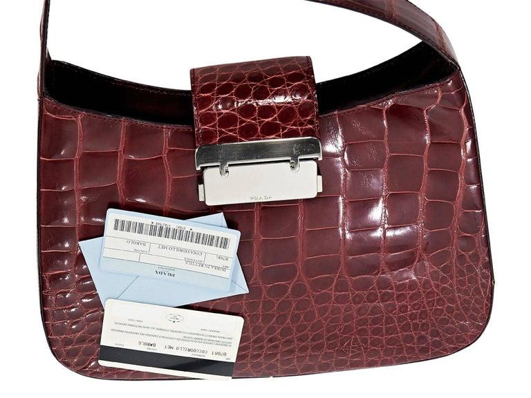 Red Prada Alligator Shoulder Bag For Sale 1