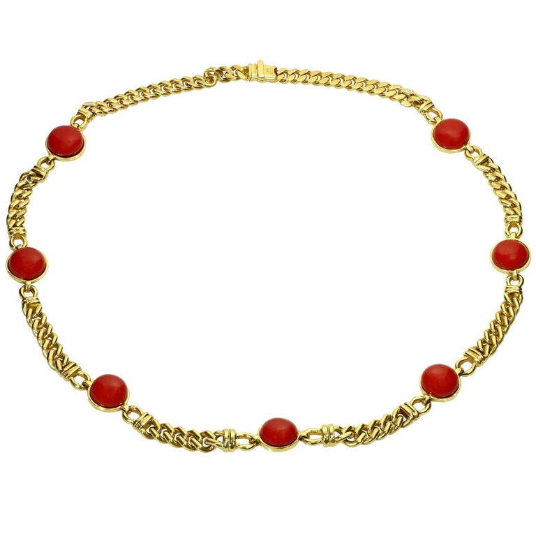 Red Quartz Yellow Gold Curb Chain Italian Necklace