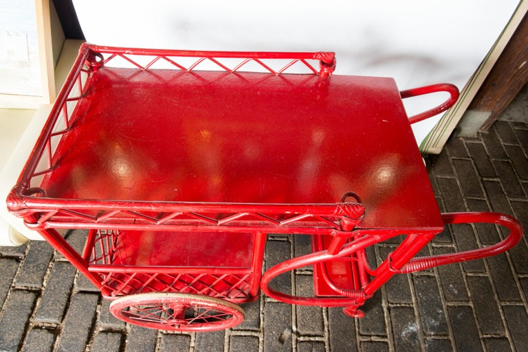 American Red Rattan Bar Cart For Sale