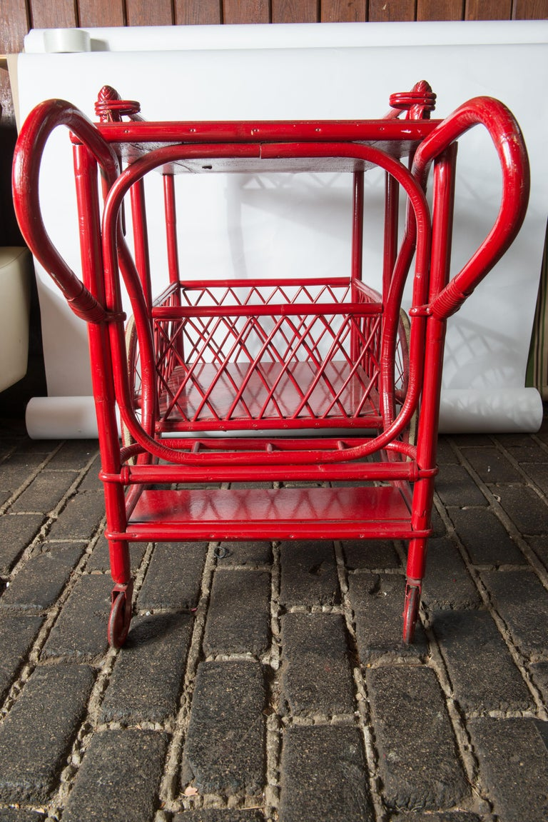 Mid-20th Century Red Rattan Bar Cart For Sale