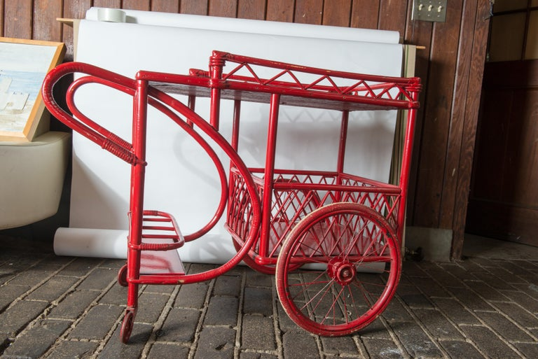 Red Rattan Bar Cart For Sale 1