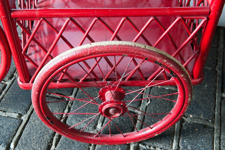Red Rattan Bar Cart For Sale 2