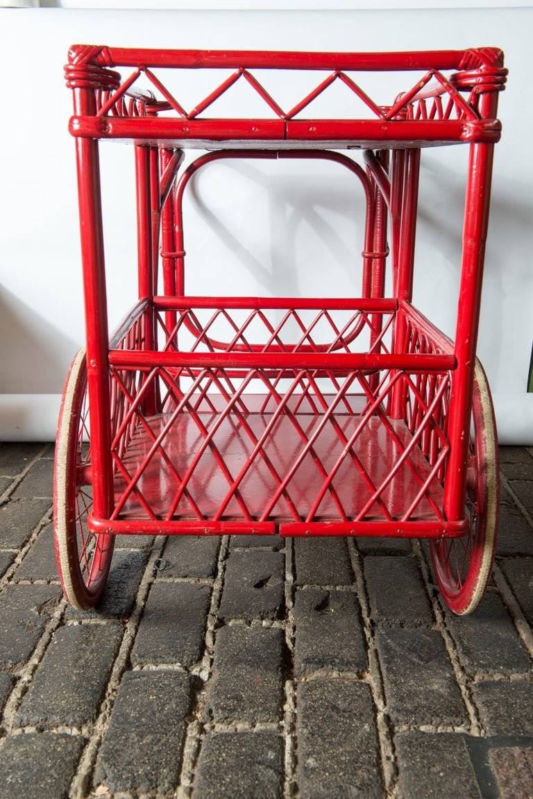 Red Rattan Bar Cart For Sale 3