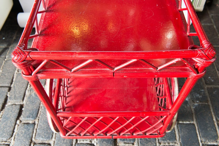 Red Rattan Bar Cart For Sale 4