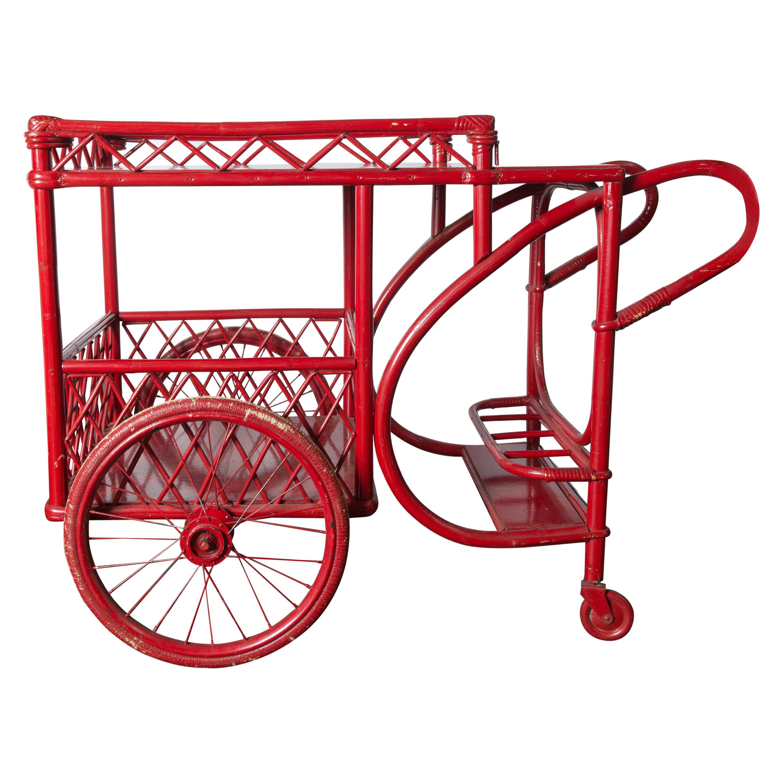 Red Rattan Bar Cart