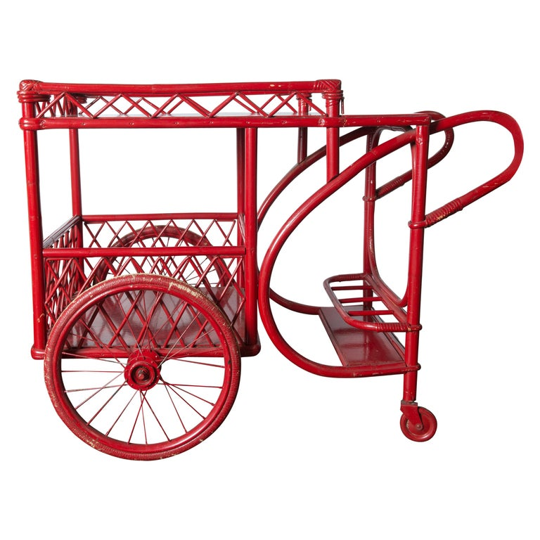 Red Rattan Bar Cart For Sale