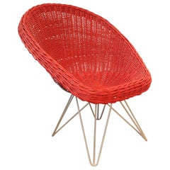 Red Rattan Lounge Chair by Teun Velthuizen for Urotan, The Netherlands, 1950s