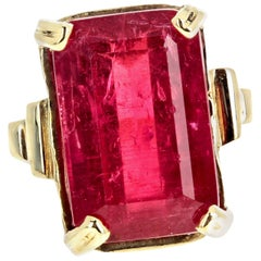 Gemjunky Bohemian Rhapsody Intense 8.5Cts Red Glowing Real Tourmaline Gold Ring